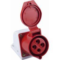 Розетка угловая STEKKER PST32-41-4411  настенная для силовых кабелей сечением 2,5-6 мм2, 3 PIN+PE нейлон/латунь 415В, 32А, IP44, красная