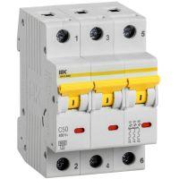 Выключатель автоматический модульный 3п C 50А 6кА ВА47-60M IEK MVA31-3-050-C