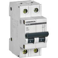 Выключатель автоматический модульный 2п C 6А 4.5кА ВА47-29 GENERICA IEK MVA25-2-006-C