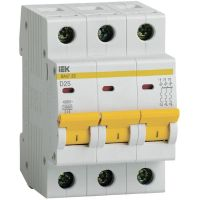 Выключатель автоматический модульный 3п D 25А 4.5кА ВА47-29 IEK MVA20-3-025-D