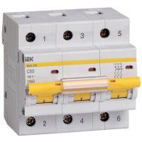Выключатель автоматический модульный 3п C 80А 10кА ВА47-100 IEK MVA40-3-080-C